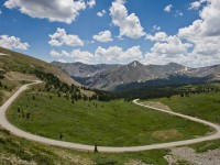 The road we had just ridden up to the top of Cottonwood Pass